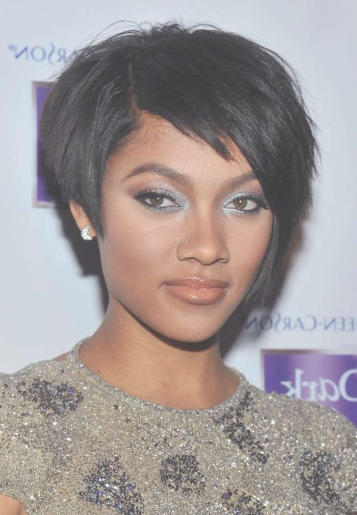 55 Winning Short Hairstyles For Black Women With Most Recent Medium Haircuts For Round Faces African American (View 24 of 25)