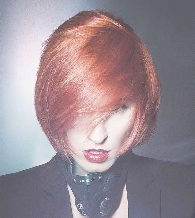 A Medium Red Hairstyle From The Big Bang Collectionvan Council Throughout Most Current Medium Hairstyles With Big Bangs (View 3 of 15)
