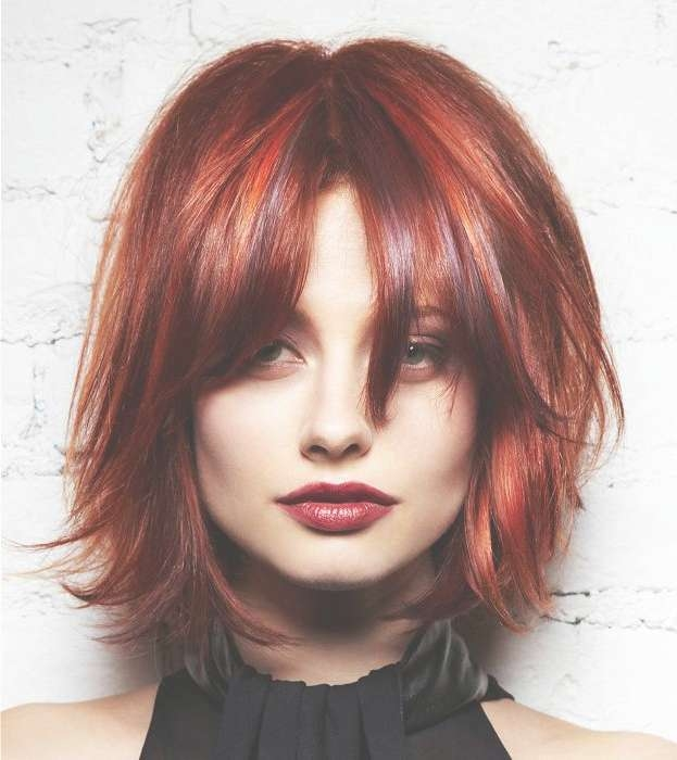 A Medium Red Hairstyle From The L'anza Neoglam Ice Collectionl Within Current Medium Haircuts With Red Hair (View 11 of 25)