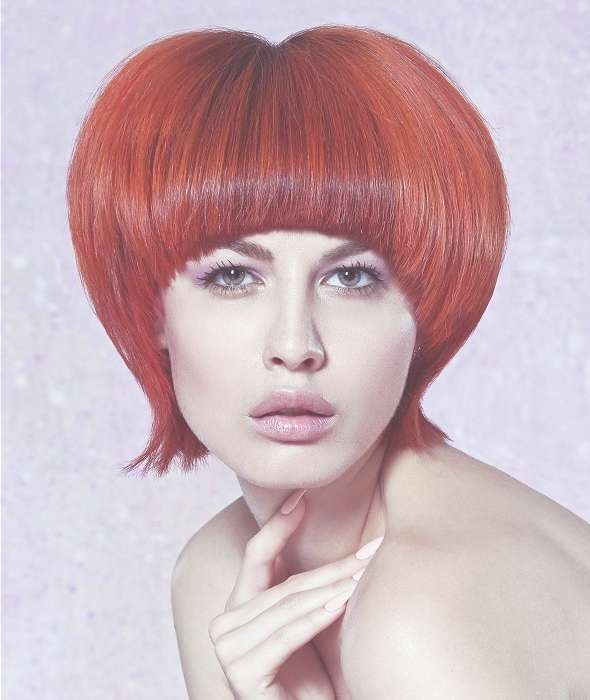 A Medium Red Hairstyle From The The Aura Collection Fall/winter With Regard To 2018 Red Medium Hairstyles (View 5 of 25)