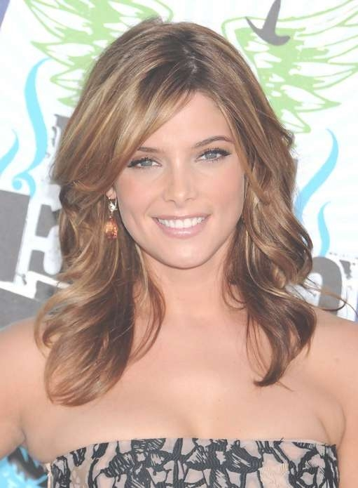 Ashley Greene Medium Hairstyle With Side Swept Bangs | Styles Weekly Intended For Recent Medium Hairstyles With Side Swept Bangs (View 12 of 25)
