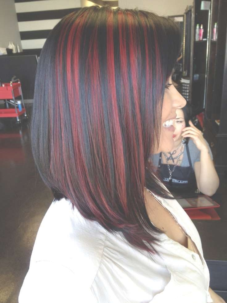 Showing Gallery Of Medium Hairstyles With Red Highlights View 7 Of