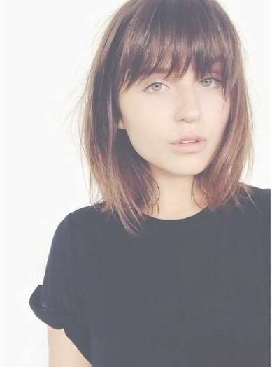 Best 25+ Fine Hair Bangs Ideas On Pinterest | Brunette Bangs With Latest Medium Haircuts With Full Bangs (View 2 of 25)