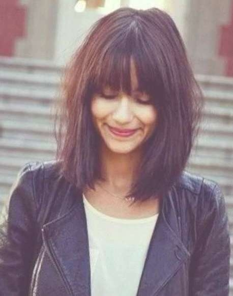 Best 25+ Long Bob Fringe Ideas On Pinterest | Bob With Fringe, Bob Throughout Newest Medium Haircuts With Full Bangs (View 24 of 25)