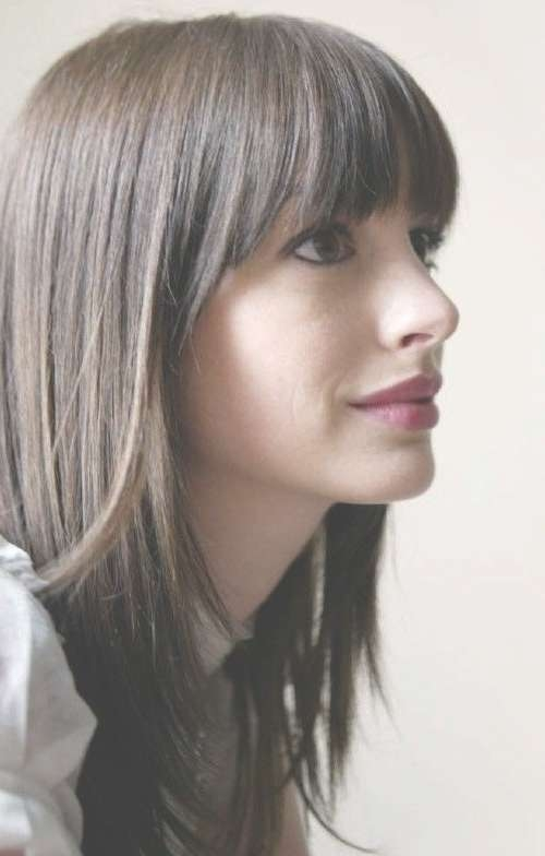 Best 25+ Medium Haircuts With Bangs Ideas On Pinterest   Hair Cuts In Most Current Medium Haircuts With Straight Bangs (View 6 of 25)