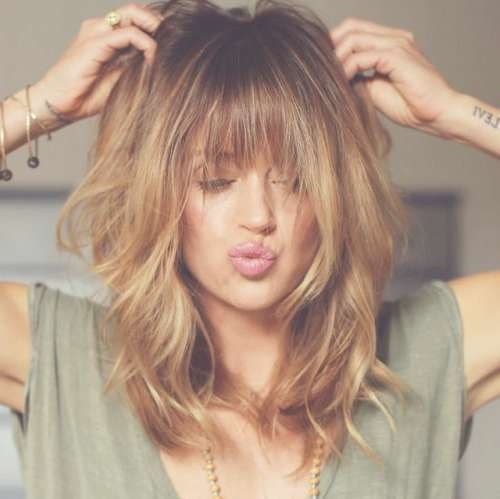 Best 25+ Medium Hairstyles With Bangs Ideas On Pinterest Intended For Latest Ladies Medium Hairstyles With Fringe (View 8 of 15)