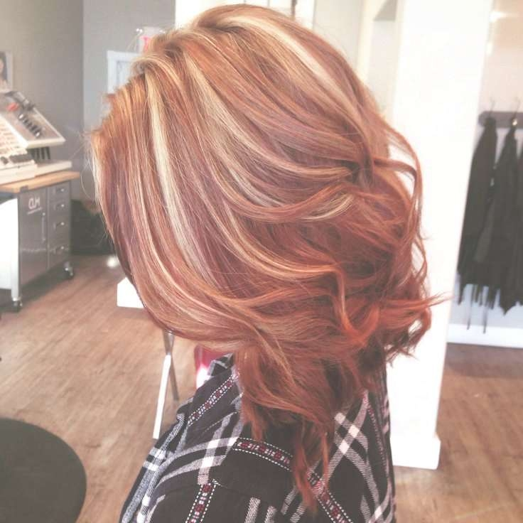 Explore Photos Of Medium Haircuts With Red And Blonde Highlights
