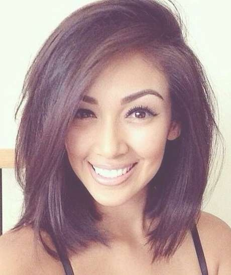 Best 25+ Round Face Hairstyles Ideas On Pinterest | Hairstyles For Intended For Newest Medium Hairstyles For Women With Round Face (View 7 of 15)