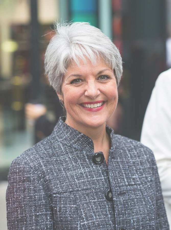 Best 25+ Short Gray Hair Ideas On Pinterest | Grey Pixie Hair Inside Latest Medium Hairstyles For Grey Haired Woman (View 25 of 25)