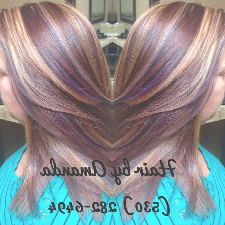Best 25+ Violet Highlights Ideas On Pinterest | Red Violet Inside Newest Medium Haircuts With Red And Blonde Highlights (View 7 of 25)