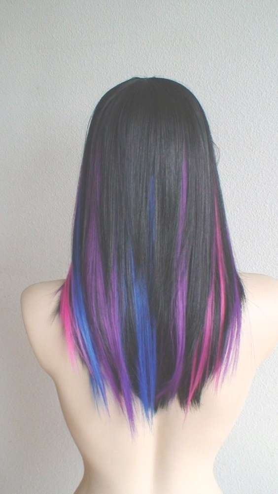 Best Medium Length Hairstyles With Highlights Within 2018 Purple And Black Medium Hairstyles (View 7 of 15)