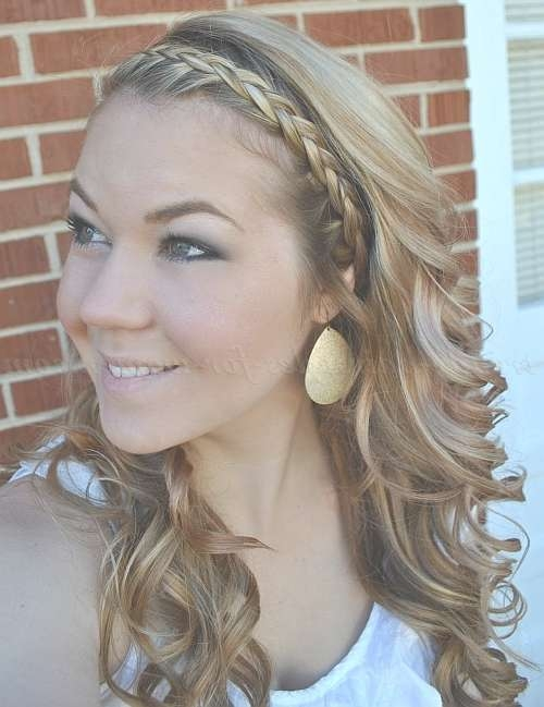 Braided Hairstyles – Wavy Hairstyle With Braided Headband | Trendy Inside 2018 Medium Haircuts With Headbands (View 12 of 25)