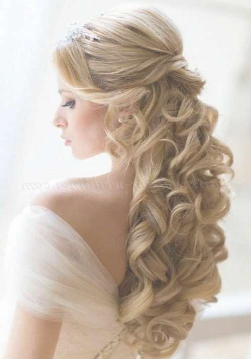 Bridal Hairstyles For Long Hair Down Half Up Half Down Wedding With Latest Wedding Long Down Hairstyles (View 3 of 25)