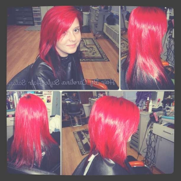 Bright Red Hair Color, Haircut, & Style – Carolina Style Hair Salon In Current Bright Red Medium Hairstyles (View 9 of 15)