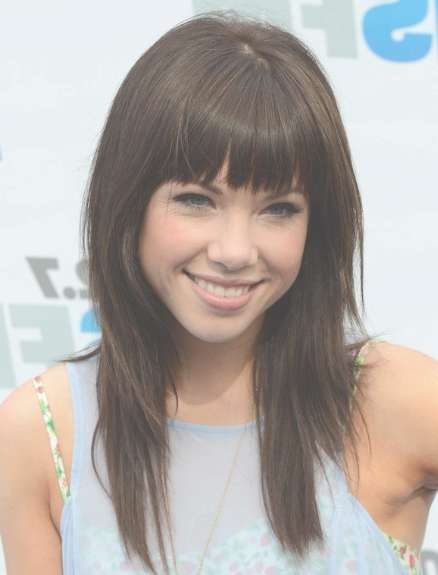 Carly Rae Jepsen,blunt, Bangs Hairstyles For Straight Hair Intended For Most Current Medium Haircuts With Straight Bangs (View 17 of 25)