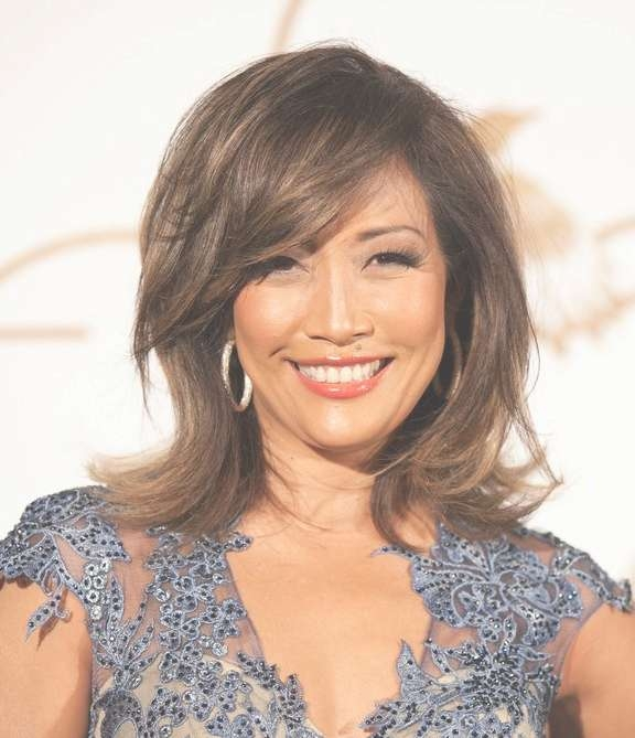 Carrie Ann Inaba Medium Layered Hairstyle With Side Swept Bangs Regarding Recent Side Swept Bangs Medium Hairstyles (View 4 of 25)