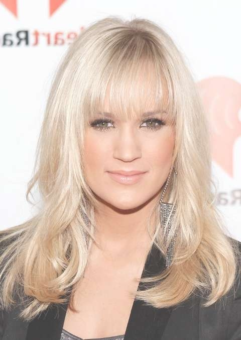 Carrie Underwood Long Straight Hairstyles With Wispy Bangs Inside 2018 Carrie Underwood Medium Haircuts (View 16 of 25)
