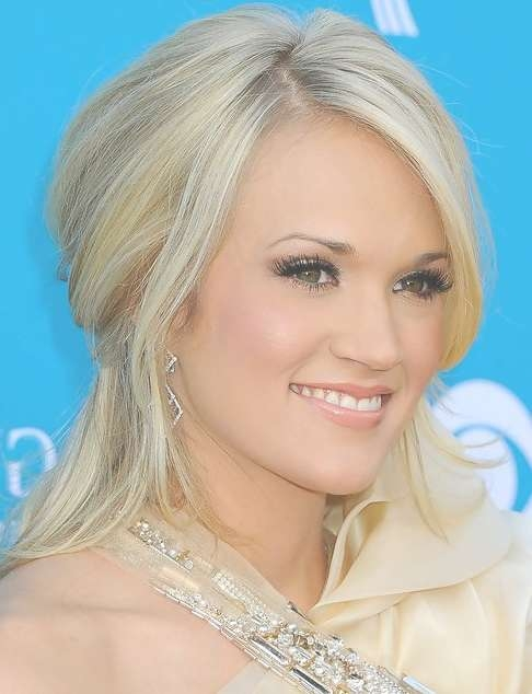 Carrie Underwood Medium Length Hairstyle: Half Up Half Down For Intended For Current Half Short Half Medium Hairstyles (View 23 of 25)