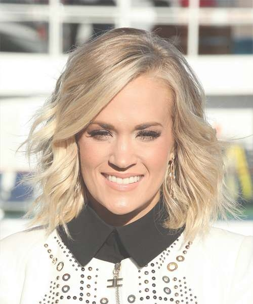 Carrie Underwood Medium Wavy Formal Bob Hairstyle – Light Blonde In 2018 Carrie Underwood Medium Haircuts (View 24 of 25)