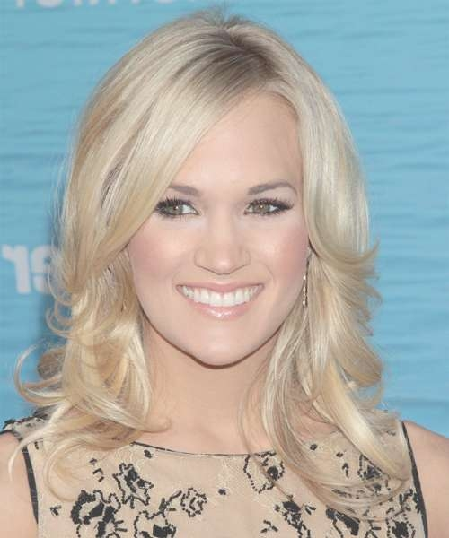 Carrie Underwood Medium Wavy Formal Hairstyle With Side Swept Pertaining To Most Popular Carrie Underwood Medium Haircuts (View 1 of 25)