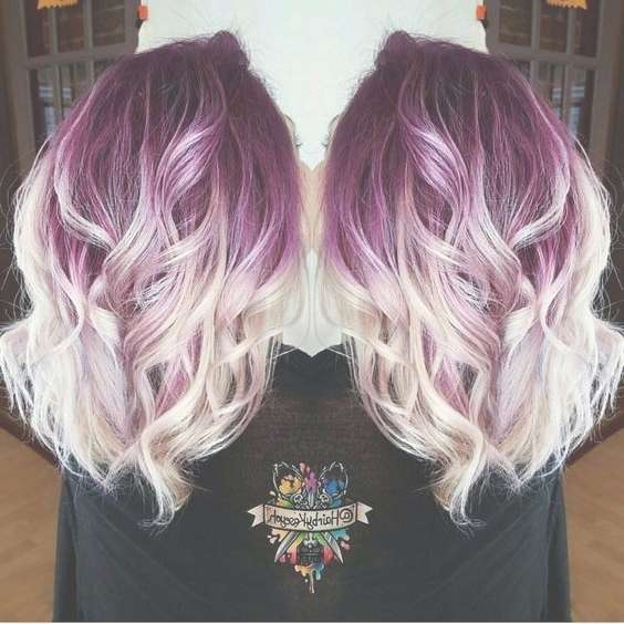 Casual, Curly Medium Hairstyles – Plum Purple Hair Color Base With Intended For Most Recently Purple Medium Hairstyles (View 12 of 25)