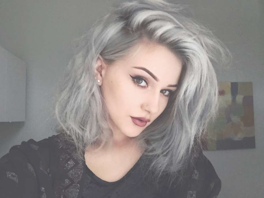 Celebrity Hairstyles: Granny Hair, The Hottest Trend Color 2015 Regarding Most Recent Side Shaved Medium Hairstyles (View 25 of 25)