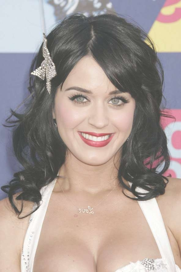 Celebrity Hairstyles: Katy Perry Medium Black Hair, Katy Perry Within Most Up To Date Katy Perry Medium Hairstyles (View 12 of 25)