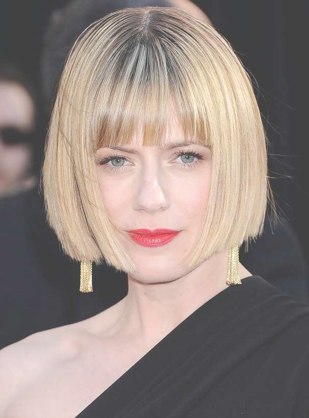Celebrity Short Straight Bob Haircut With Blunt Bangs – Hairstyles Within Straight Bob Hairstyles (View 7 of 25)