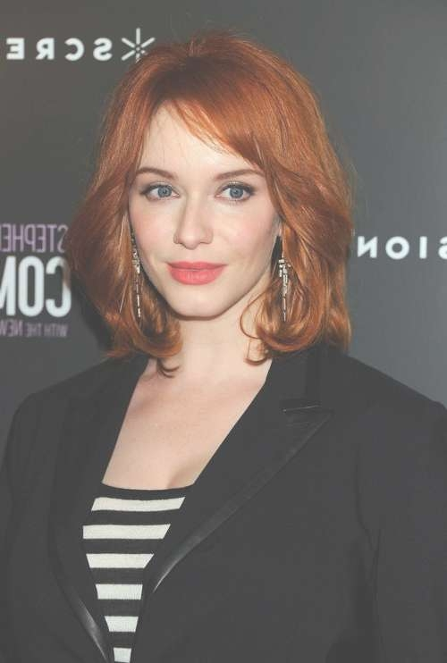 Christina Hendricks Medium Fiery Red Wavy Hairstyle For Women Inside Most Up To Date Medium Hairstyles For Red Hair (View 19 of 25)