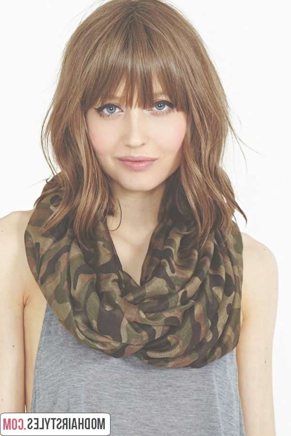 Classic Medium Length Haircut With Layers And Side Bangs Throughout 2018 Medium Haircuts With Fringes (View 8 of 25)