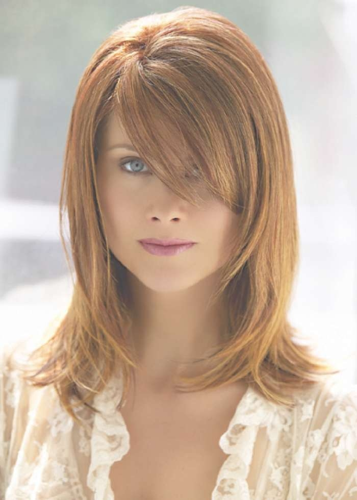 layered haircuts for medium hair 2018 popular medium haircuts with layers and side swept bangs 1297