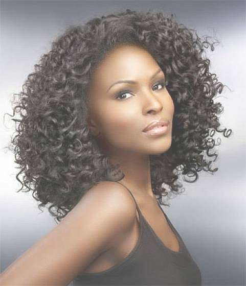 Curly Medium Length Haircut Hairstyle For Black Women   Voguemagz With Current Curly Medium Hairstyles Black Women (View 7 of 15)