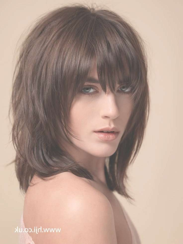 Cute Medium Haircut With Bangs And Layers With Regard To Newest Best Medium Hairstyles With Bangs (View 14 of 25)
