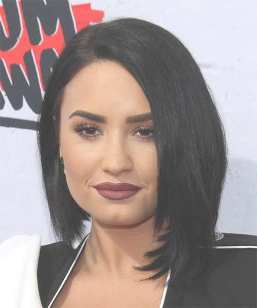 Demi Lovato Medium Straight Formal Bob Hairstyle – Black Hair Color Intended For Current Demi Lovato Medium Hairstyles (View 7 of 25)