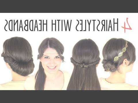 Easy Hairstyles With Headbands – Youtube With Most Popular Medium Hairstyles With Headband (View 11 of 15)