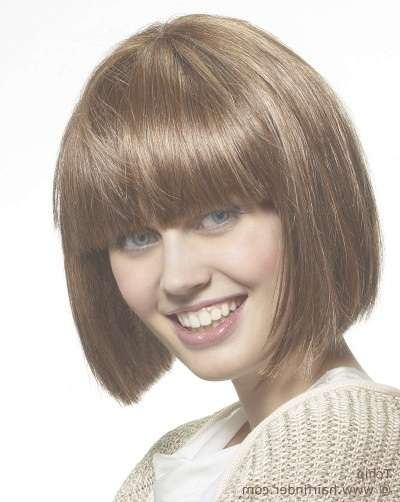 Easy To Handle Blunt Cut Bob Hairstyle With Bangs Intended For Blunt Cut Bob Haircuts (View 25 of 25)