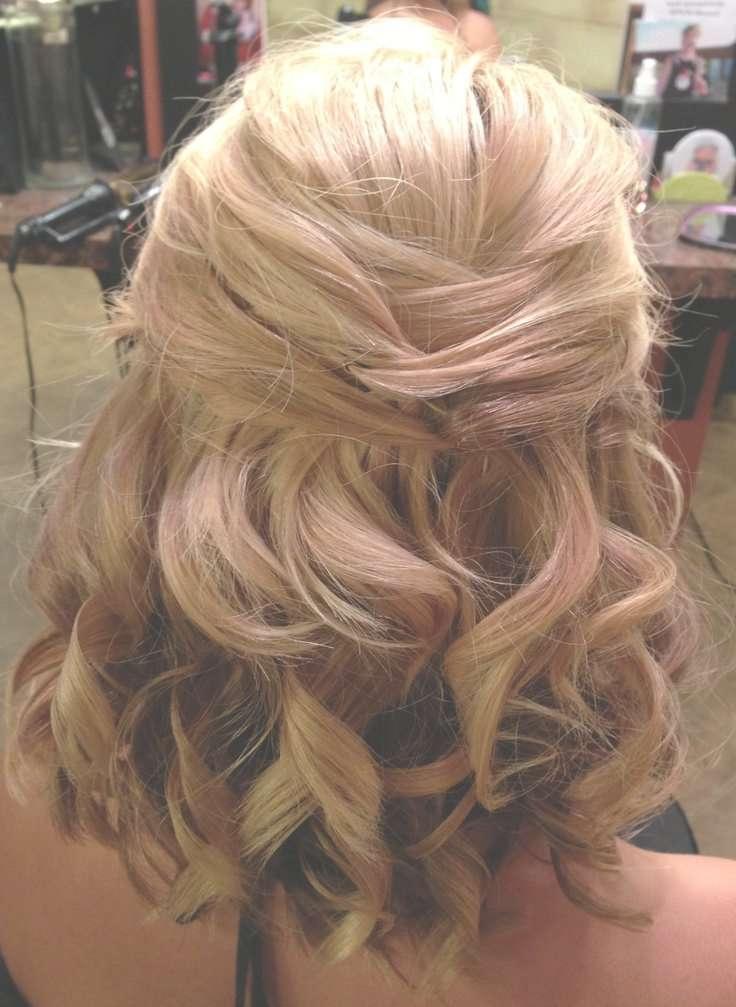 Ebony Medium Length Half Updos Within Recent Elegant Medium Hairstyles For Weddings (View 9 of 25)