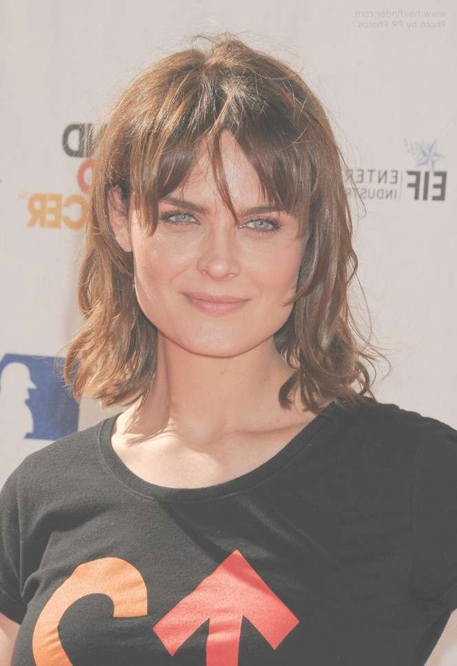 Emily Deschanel | Medium Hairstyle With Layers And Bangs For A Throughout Best And Newest Medium Hairstyles For Square Faces With Bangs (View 25 of 25)