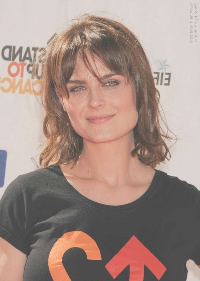 Emily Deschanel | Medium Hairstyle With Layers And Bangs For A Within Most Recent Medium Haircuts For Square Jaws (View 10 of 15)