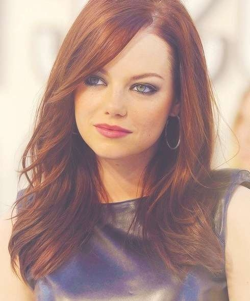Emma Stone's Long Hairstyles: Red Straight Hair – Popular Haircuts Pertaining To Recent Medium Hairstyles For Red Hair (View 13 of 25)