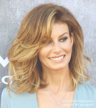Faith Hill | Voluminous Medium Length Hairstyle With An Ombre Pertaining To Most Current Medium Haircuts For Voluminous Hair (View 21 of 25)