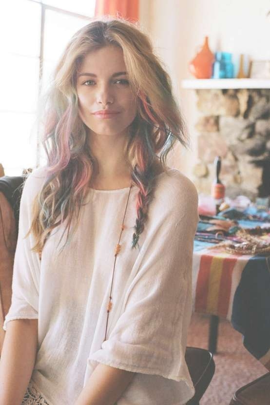 Hair Chalk: Arty Boho Rainbow Waves & Braid – Hairstyles Weekly Intended For Current Boho Medium Hairstyles (View 18 of 25)