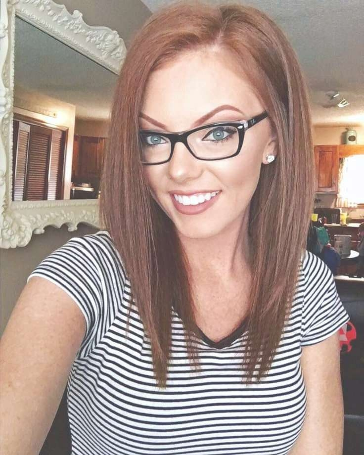Hair Color And Cut! Love Her Brows Toooooooo | My Style Pinboard With Current Medium Hairstyles With Glasses (View 16 of 25)