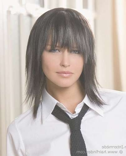 Haircut With Choppy Shoulder Length Layers And An Uneven Fringe Intended For Most Recent Medium Haircuts With Fringe (View 24 of 25)