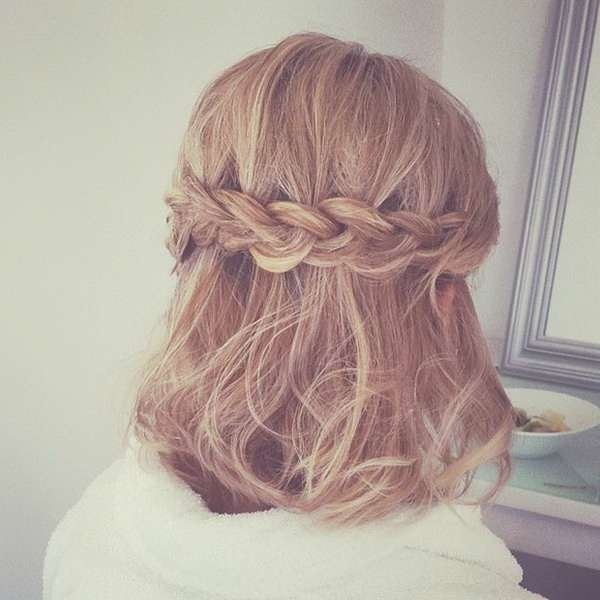 Hairstyles For Prom Half Up Down Medium Length Hair Intended For Newest Half Short Half Medium Haircuts (View 2 of 25)