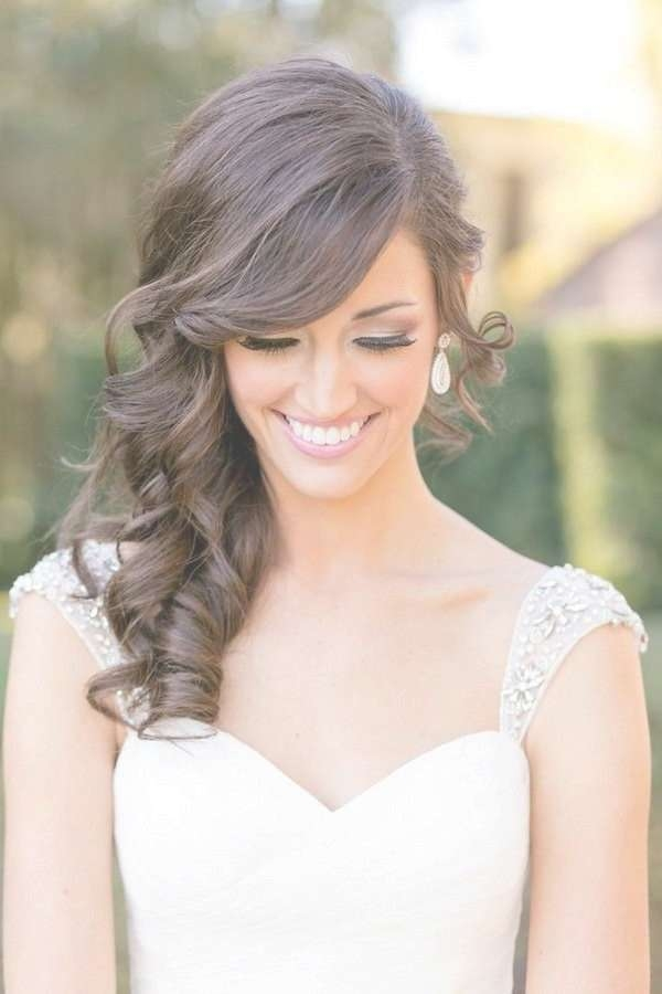 Hairstyles Ideas : Medium Length Wedding Hairstyles Down Medium Pertaining To Best And Newest Wedding Medium Hairstyles (View 14 of 25)
