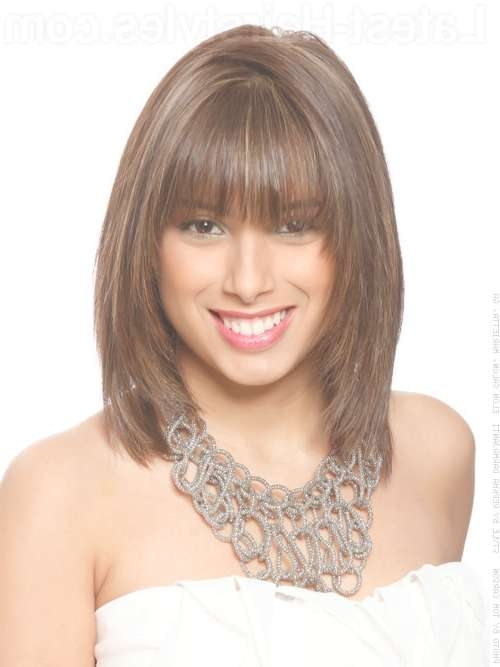 Hairstyles With Bangs Medium Length Hair Inside Recent Medium Hairstyles With Bangs (View 16 of 25)
