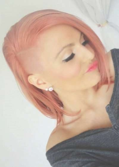 Half Shaved And Side Swept Hairstyle With Soft Pink Colouring In Best And Newest Shaved Medium Hairstyles (View 24 of 25)