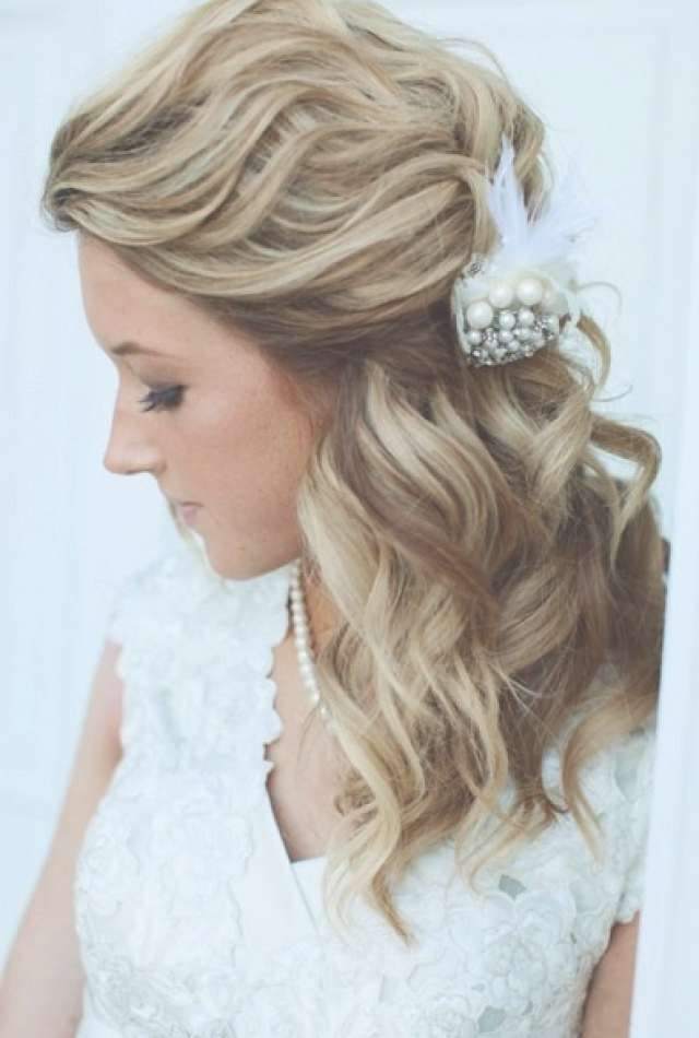 Half Up And Half Down Bridal Hairstyles – Women Hairstyles With Best And Newest Wedding Medium Hairstyles (View 16 of 25)