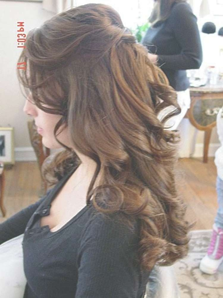 Half Up Half Down Curly Hairstyles For Medium Length Hair   2017 With Regard To 2018 Half Up Medium Hairstyles (View 18 of 25)